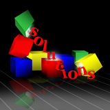 Solutions. Red, yellow, blue and green blocks support and dump out letters spelling solutions. Slight reflection on grid line shiny surface with a black back Stock Images