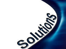 Solutions. Blue dynamic wave with text solutions Stock Photography