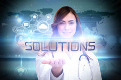 Solutions against futuristic technology interface Royalty Free Stock Photography
