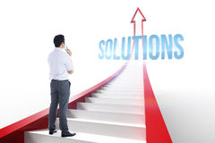 Solutions against red arrow with steps graphic Royalty Free Stock Photos