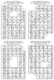 Solutions for previous 4 math mazes. Templates for new puzzles. Solutions, or answers for previous 4 math mazes. Can be used also as templates for new puzzle stock illustration