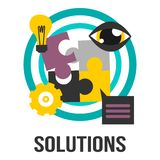 Solutions Business Concept Sign With Puzzle Pieces, Bulb, Gear And Eye Royalty Free Stock Photo
