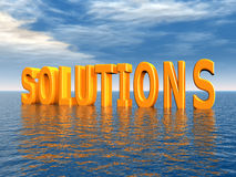 Solutions. Computer generated 3D illustration with the word Solutions in an ocean Stock Photography