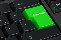 Solutions concept on green button Stock Photo