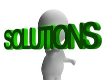 Solutions And 3d Character Showing Answers And Fixing Stock Images