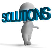 Solutions And 3d Character Shows Answers And Fixing Royalty Free Stock Photography