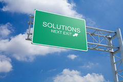 Solutions - 3D Highway Exit Sign Royalty Free Stock Images