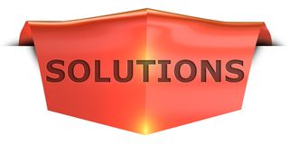 Banner solutions. Solutions 3D rendered red banner , isolated on white background Stock Photo