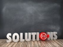 SOLUTIONS 3D Word with Target on Chalkboard Background. High Quality 3D Rendering royalty free illustration