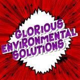 Solutions environnementales glorieuses - mots de style de bande dessinée illustration libre de droits