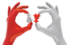 Solutions Exchange. 3D illustration of hands made out of plastic jigsaw puzzle pieces, exchanging puzzle pieces, metaphor for partnerships royalty free illustration