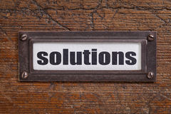 Solutions - file cabinet label Royalty Free Stock Photo