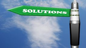 Solutions fountain pen design road sign with flowing clouds stock video