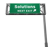 Solutions Freeway Exit Sign. 3D illustration, isolated on white Stock Photo