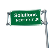Solutions Freeway Exit Sign highway street. Solutions Freeway Exit Sign representing an isolated highway street symbol with green signage Stock Images