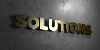 Solutions - Gold sign mounted on glossy marble wall  - 3D rendered royalty free stock illustration. This image can be used for an online website banner ad or a Stock Photos