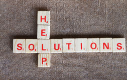 Solutions and help. Abstract- layout in a scrabble game stock photos