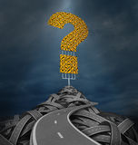 Solutions Highway. And freeway to answers with a mountain of confused tangled roads and a group of yellow traffic signs in the shape of a question mark on a Royalty Free Stock Image