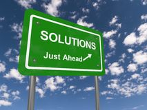 Solutions just ahead road sign Stock Photo