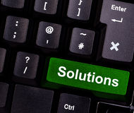 Solutions on keyboard. Keyboard with green button, spelling solutions Stock Images