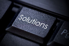 Solutions keyboard button Royalty Free Stock Image