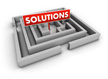 Solutions Labyrinth. Solutions concept with labyrinth and red goal sign on white background Stock Images