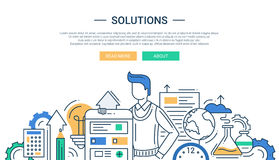 Solutions line flat design banner with male and business tools Royalty Free Stock Images