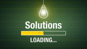 Solutions loading. Banner solutions loading - glowing light bulb on a chalkboard royalty free illustration