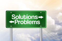 Solutions, Problems Green Road Sign Stock Image