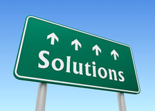 Solutions road sign concept  3d illustration Stock Photo