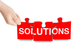 Solutions sign puzzle Royalty Free Stock Photography