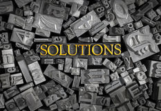 Solutions spelled out in metal letters Royalty Free Stock Photos