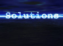 Solutions Text on Blue Bright Ocean Sea Horizon Stock Image