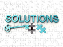 Solutions text, key, jigsaw puzzle. Solutions text, key and jigsaw puzzle. Good for business concept Stock Photo
