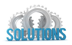 Solutions word with cogs in background Royalty Free Stock Photography