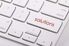 Solutions word on keyboard. Solutions word written on computer keyboard Stock Photos