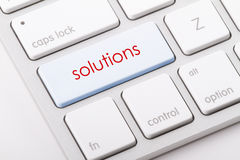 Solutions word on keyboard. Royalty Free Stock Photo