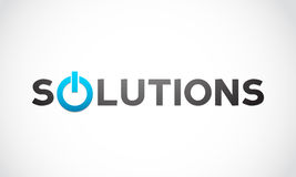 Solutions word with power icon Royalty Free Stock Images