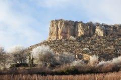 Solutre, Burgundy, France. The Rock of Solutre at Le Morvan, Burgundy, France Stock Photography