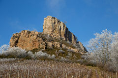 Solutre, Burgundy, France. The Rock of Solutre at Le Morvan, Burgundy, France Royalty Free Stock Photo