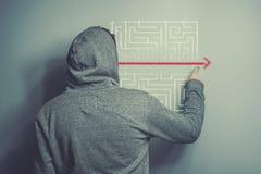 Soluzione ad un labirinto Immagini Stock Libere da Diritti