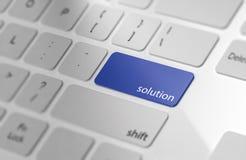 Soluzione - bottone sulla tastiera Immagini Stock