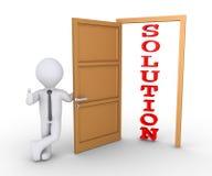 Soluzione d'offerta dell'uomo d'affari attraverso la porta Fotografie Stock Libere da Diritti
