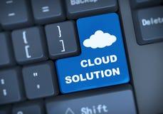 soluzione della nuvola del testo della tastiera 3d Immagini Stock Libere da Diritti