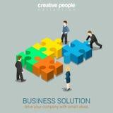 Soluzione di affari nel web piano 3d di concetto di associazione isometrico Fotografia Stock Libera da Diritti