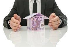Soluzione di crisi di assicurazione e del bene immobile Fotografia Stock