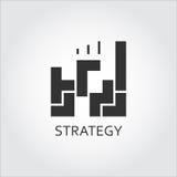Soluzione piana nera di strategia o di piano dell'icona di vettore come gioco illustrazione vettoriale