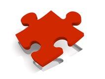 Soluzione rossa di puzzle Fotografia Stock