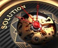 Soluzione sul fronte Nero-dorato dell'orologio Immagine Stock Libera da Diritti