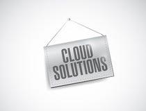 Soluzioni della nuvola che appendono l'illustrazione dell'insegna Fotografie Stock